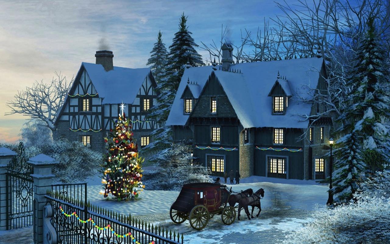 Fondo Escritorio Nevada Navideña: Postales De Paisajes De Navidad