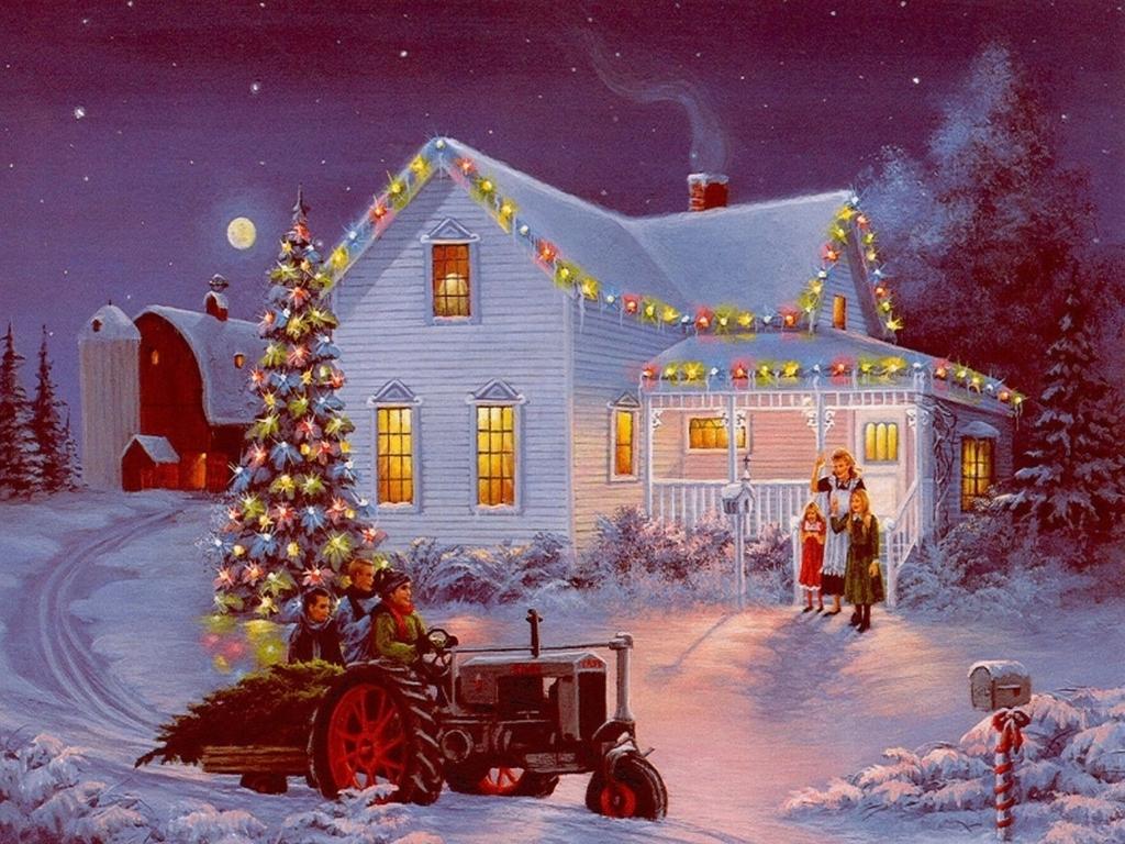 Postales de paisajes de navidad fondos de pantalla y - Paisaje nevado navidad ...
